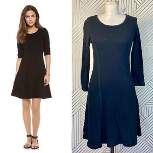 James Perse Recycle Crepe Jersey Flare Dress Black